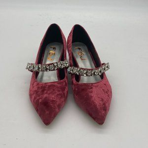 FSJ Purple Velvet Kitten Heel Mary Jane Pump